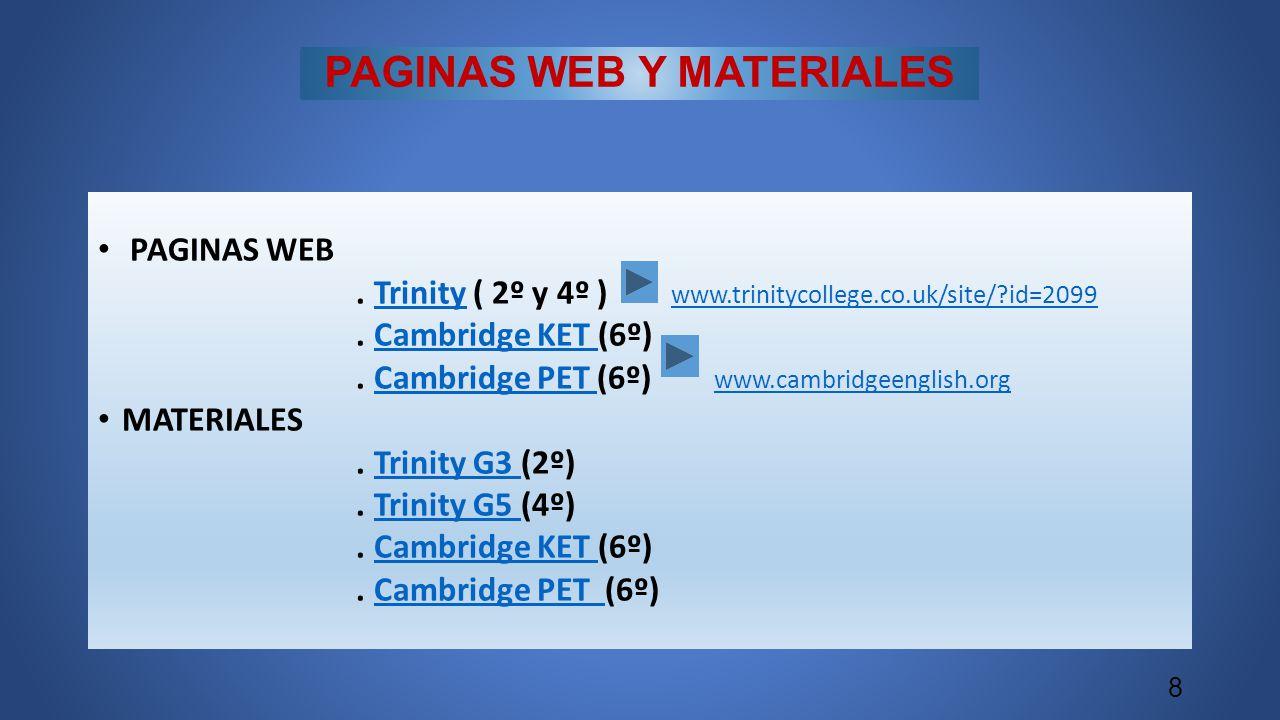 PAGINAS WEB Y MATERIALES PAGINAS WEB. Trinity ( 2º y 4º ) www.trinitycollege.co.uk/site/?id=2099Trinity www.trinitycollege.co.uk/site/?id=2099. Cambri