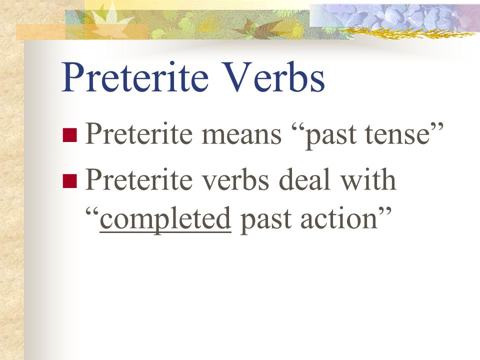 Preterite -ER / -IR Verbs Page 95 Avancemos 2