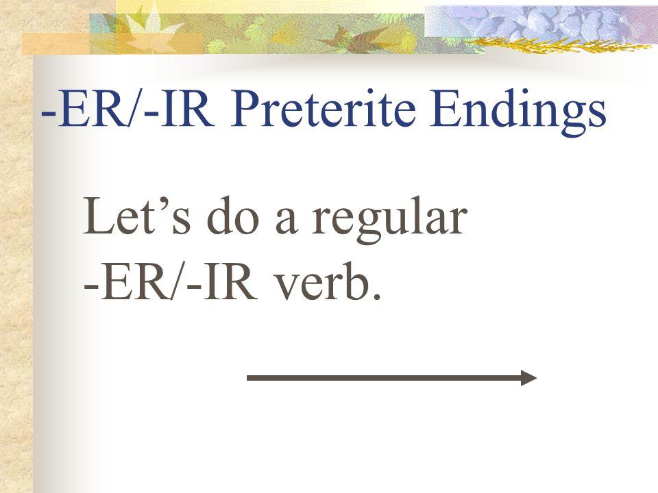 -ER/-IR Preterite Endings í iste ió imos isteis ieron