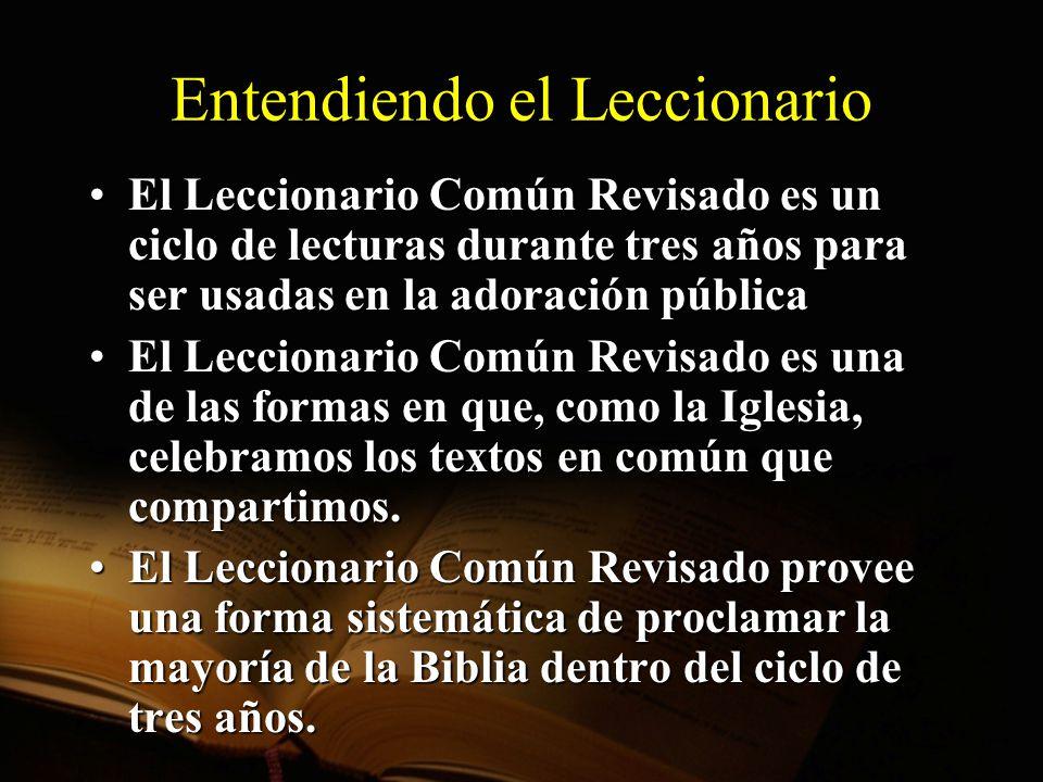 Organización del Leccionario Contenido Primera lectura, usualmente del Antiguo Testamento Lectura del Salmo Lectura del Nuevo Testamento Lectura del Evangelio