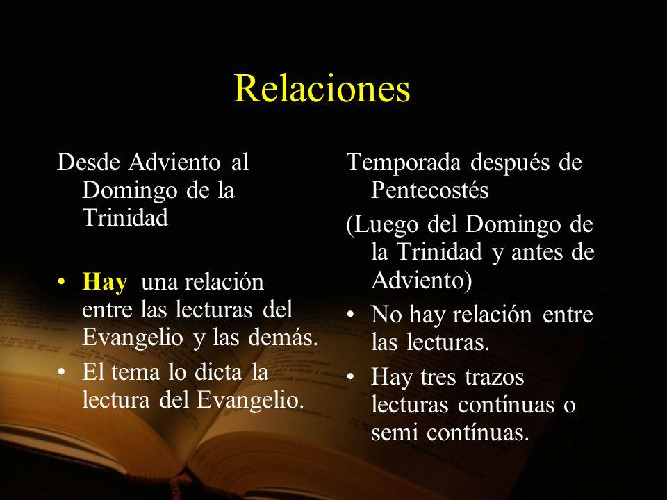 Relaciones Desde Adviento al Domingo de la Trinidad Hay una relación entre las lecturas del Evangelio y las demás. El tema lo dicta la lectura del Eva