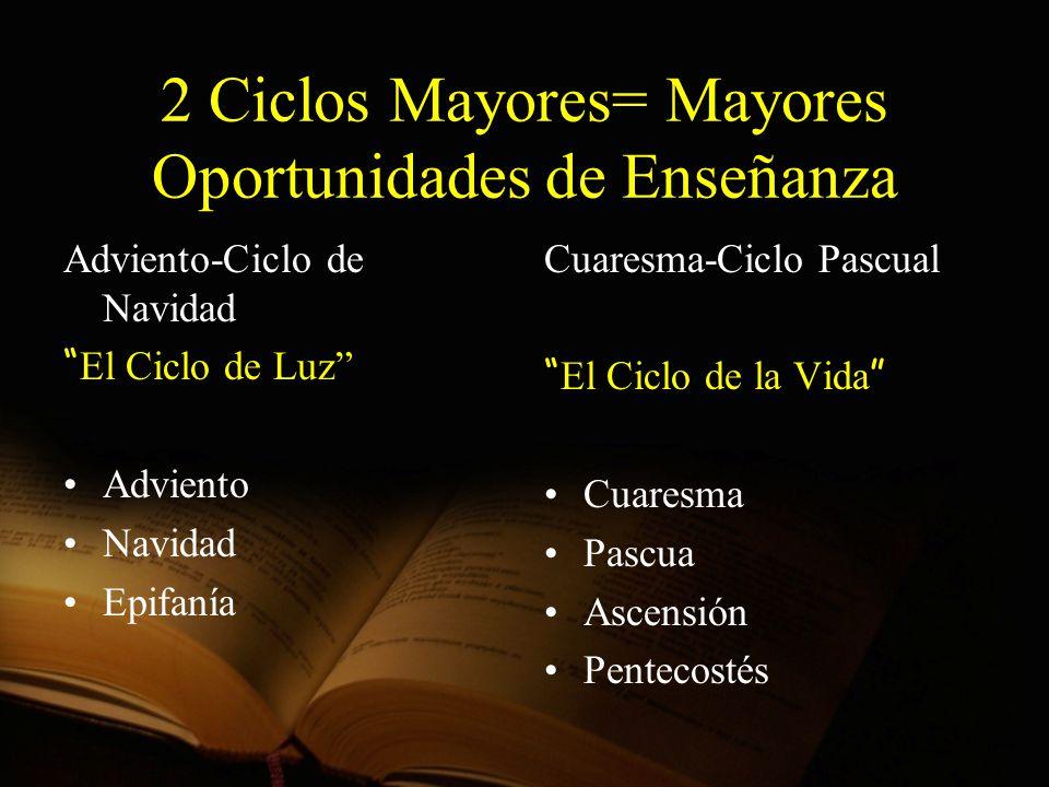 2 Ciclos Mayores= Mayores Oportunidades de Enseñanza Adviento-Ciclo de Navidad El Ciclo de Luz Adviento Navidad Epifanía Cuaresma-Ciclo Pascual El Cic