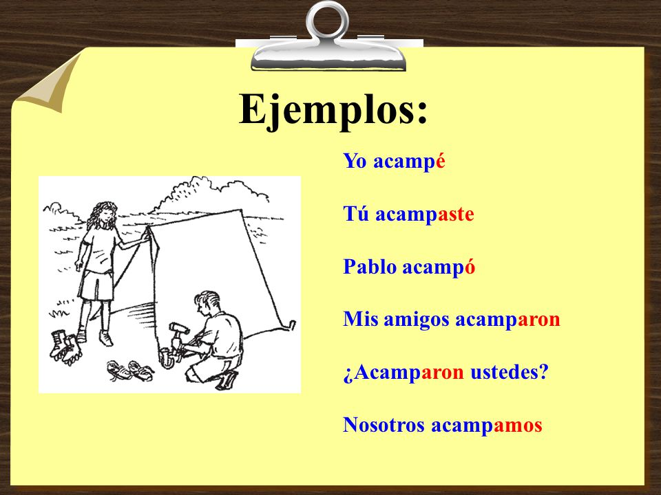 To form the preterite tense for regular -ar verbs I need to do the following? 1. Drop the -AR Ejemplo: Hablar 2. Add preterite endings: éamos aste óar