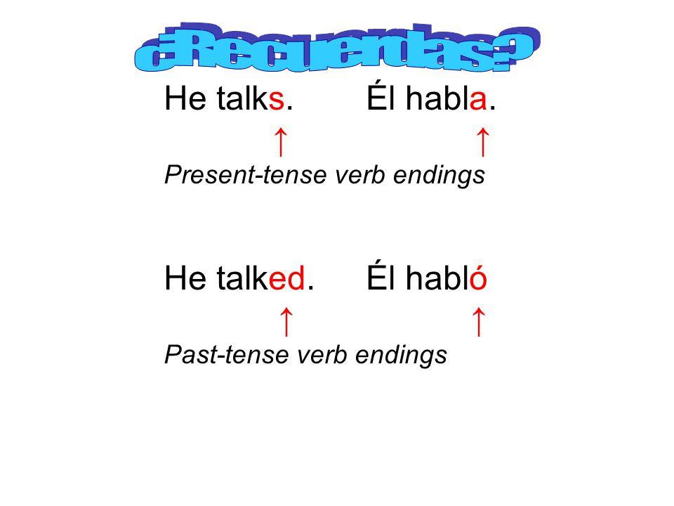 He talks. Él habla. Present-tense verb endings He talked.Él habló Past-tense verb endings
