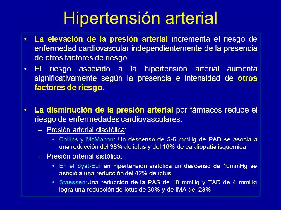 Hipertensión arterial La elevación de la presión arterial incrementa el riesgo de enfermedad cardiovascular independientemente de la presencia de otros factores de riesgo.