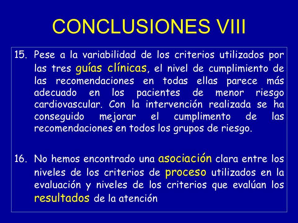 CONCLUSIONES VIII 15.Pese a la variabilidad de los criterios utilizados por las tres guías clínicas, el nivel de cumplimiento de las recomendaciones en todas ellas parece más adecuado en los pacientes de menor riesgo cardiovascular.
