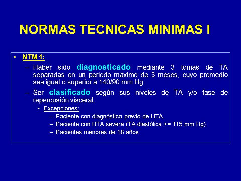 NORMAS TECNICAS MINIMAS I NTM 1: –Haber sido diagnosticado mediante 3 tomas de TA separadas en un periodo máximo de 3 meses, cuyo promedio sea igual o superior a 140/90 mm Hg.