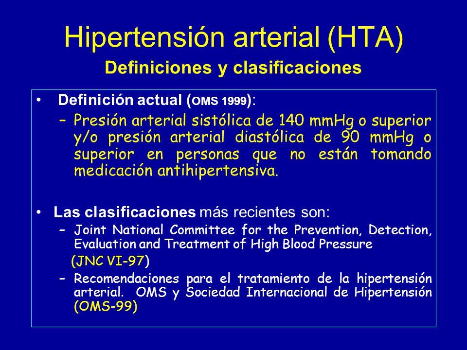 Hipertensión arterial (HTA) Definiciones y clasificaciones Definición actual ( OMS 1999 ): –Presión arterial sistólica de 140 mmHg o superior y/o presión arterial diastólica de 90 mmHg o superior en personas que no están tomando medicación antihipertensiva.