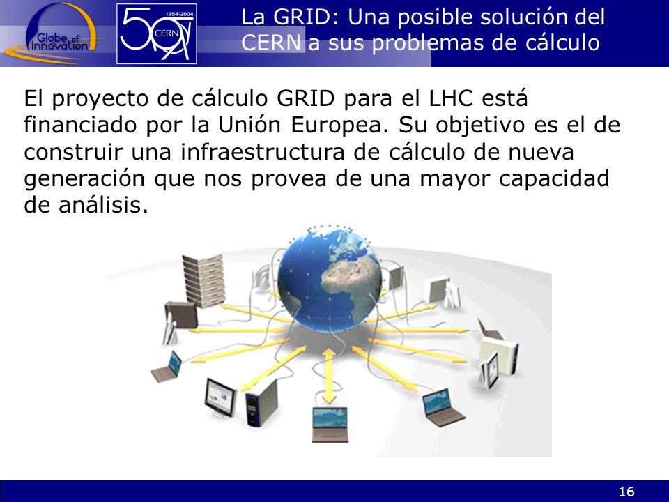 16 La GRID: Una posible solución del CERN a sus problemas de cálculo El proyecto de cálculo GRID para el LHC está financiado por la Unión Europea. Su