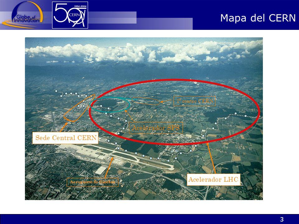 3 Mapa del CERN Aeropuerto de Ginebra Acelerador LHC Sede Central CERN Acelerador SPS 2º centro CERN
