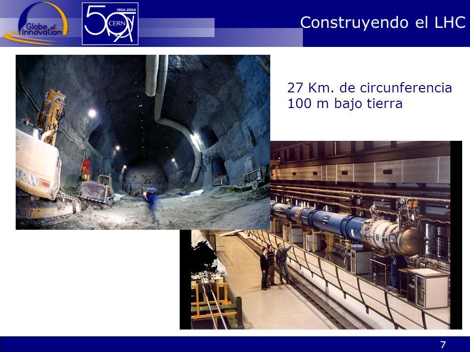 7 Construyendo el LHC 27 Km. de circunferencia 100 m bajo tierra