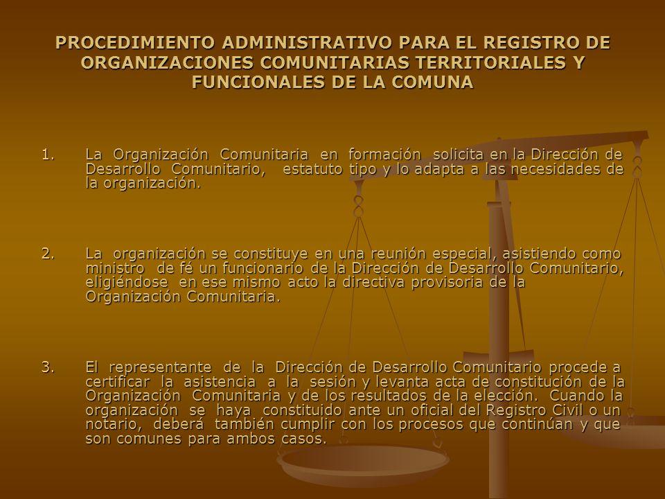 PROCEDIMIENTO ADMINISTRATIVO PARA EL REGISTRO DE ORGANIZACIONES COMUNITARIAS TERRITORIALES Y FUNCIONALES DE LA COMUNA 1.La Organización Comunitaria en formación solicita en la Dirección de Desarrollo Comunitario, estatuto tipo y lo adapta a las necesidades de la organización.