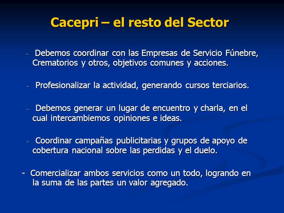 Cacepri – el resto del Sector - Debemos coordinar con las Empresas de Servicio Fúnebre, Crematorios y otros, objetivos comunes y acciones. - Debemos c