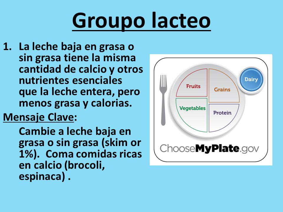 Groupo lacteo 1.La leche baja en grasa o sin grasa tiene la misma cantidad de calcio y otros nutrientes esenciales que la leche entera, pero menos grasa y calorias.