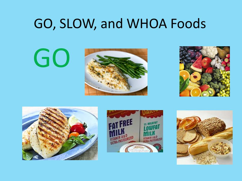 GO, SLOW, and WHOA Foods GO