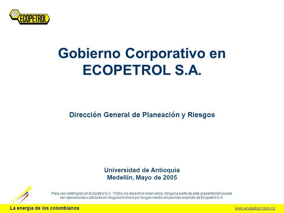 www.ecopetrol.com.co La energía de los colombianos Para uso restringido en Ecopetrol S.A. Todos los derechos reservados. Ninguna parte de esta present