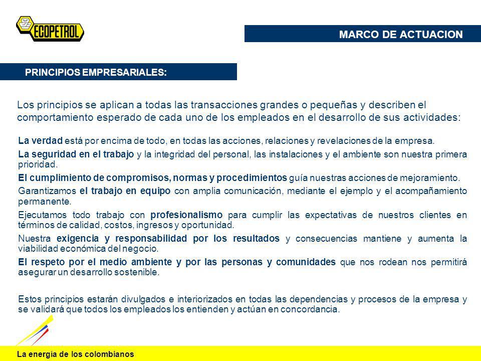 La energía de los colombianos PRINCIPIOS EMPRESARIALES: La verdad está por encima de todo, en todas las acciones, relaciones y revelaciones de la empr
