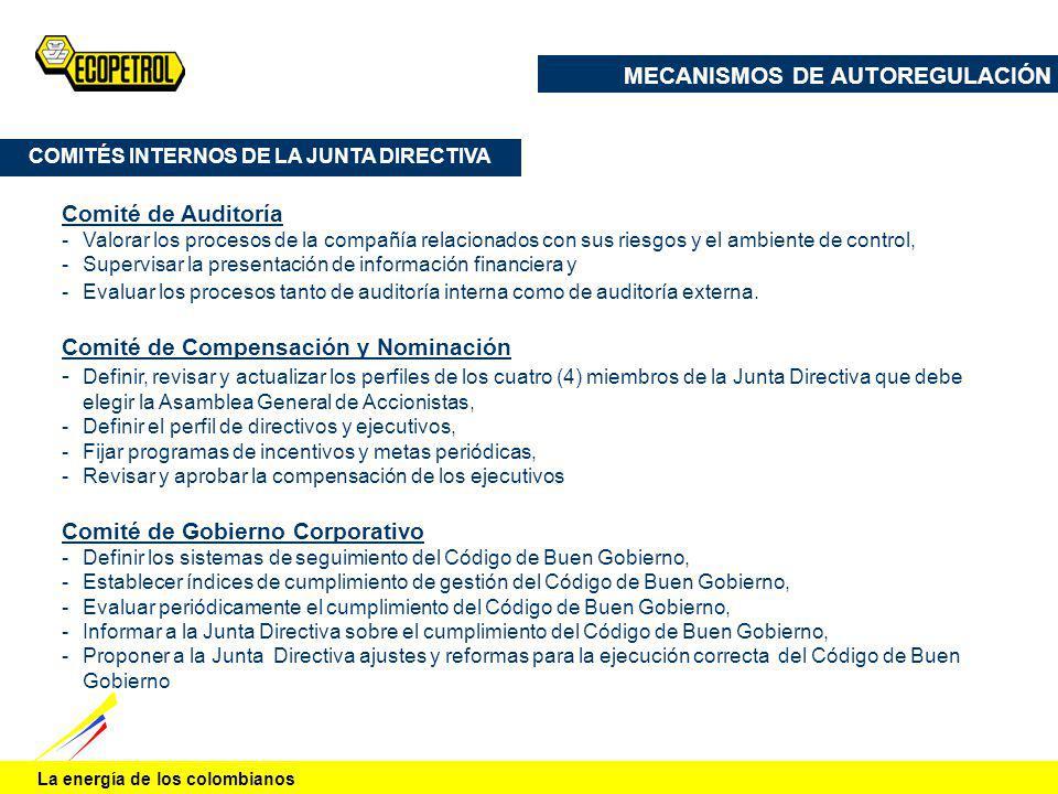 La energía de los colombianos COMITÉS INTERNOS DE LA JUNTA DIRECTIVA Comité de Auditoría -Valorar los procesos de la compañía relacionados con sus rie