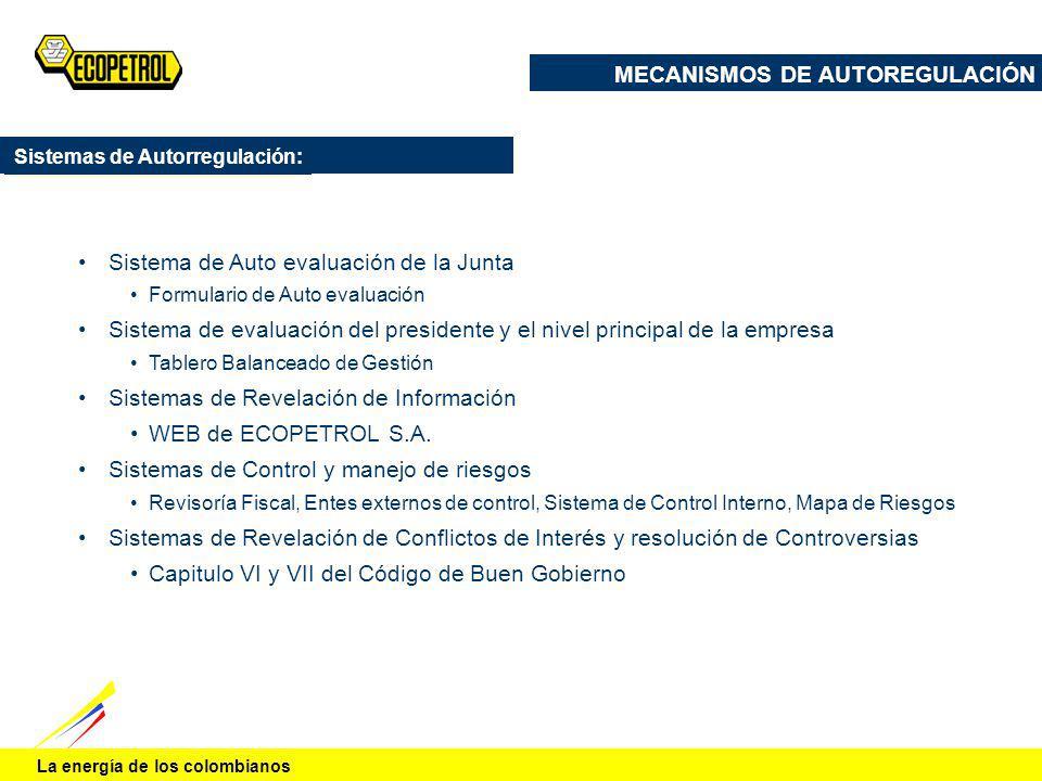 La energía de los colombianos Sistema de Auto evaluación de la Junta Formulario de Auto evaluación Sistema de evaluación del presidente y el nivel pri