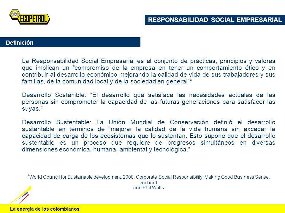 La energía de los colombianos La Responsabilidad Social Empresarial es el conjunto de prácticas, principios y valores que implican un compromiso de la