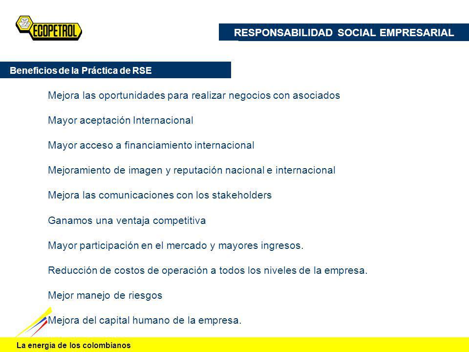 La energía de los colombianos Mejora las oportunidades para realizar negocios con asociados Mayor aceptación Internacional Mayor acceso a financiamien
