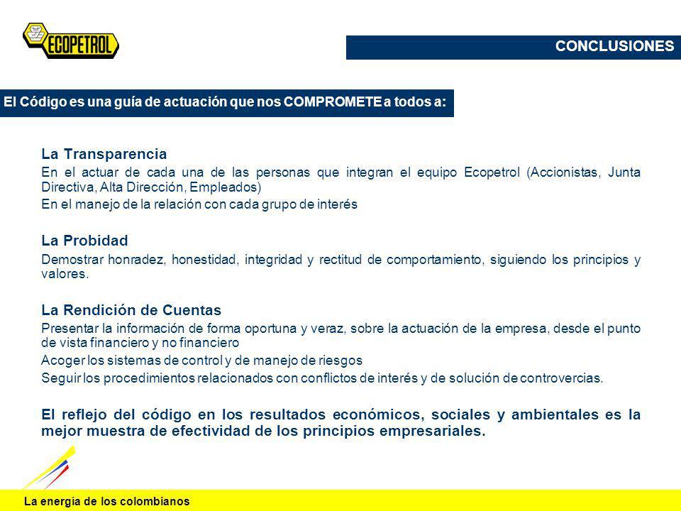 La energía de los colombianos La Transparencia En el actuar de cada una de las personas que integran el equipo Ecopetrol (Accionistas, Junta Directiva