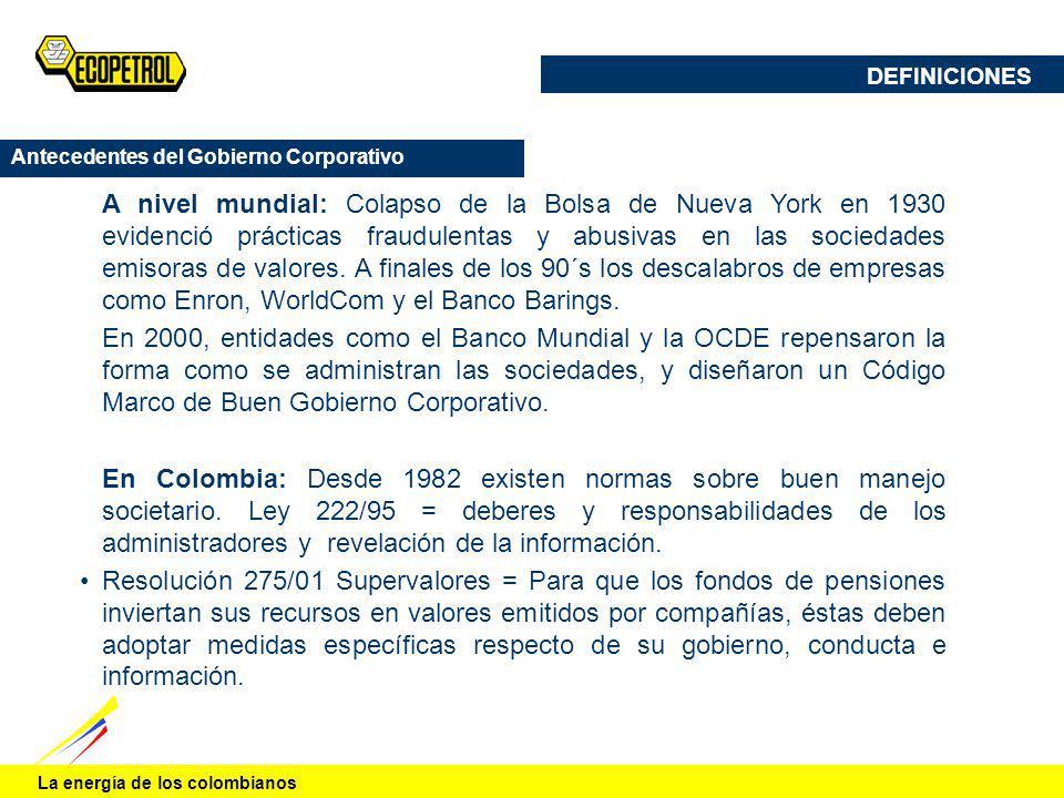 La energía de los colombianos Antecedentes del Gobierno Corporativo A nivel mundial: Colapso de la Bolsa de Nueva York en 1930 evidenció prácticas fra