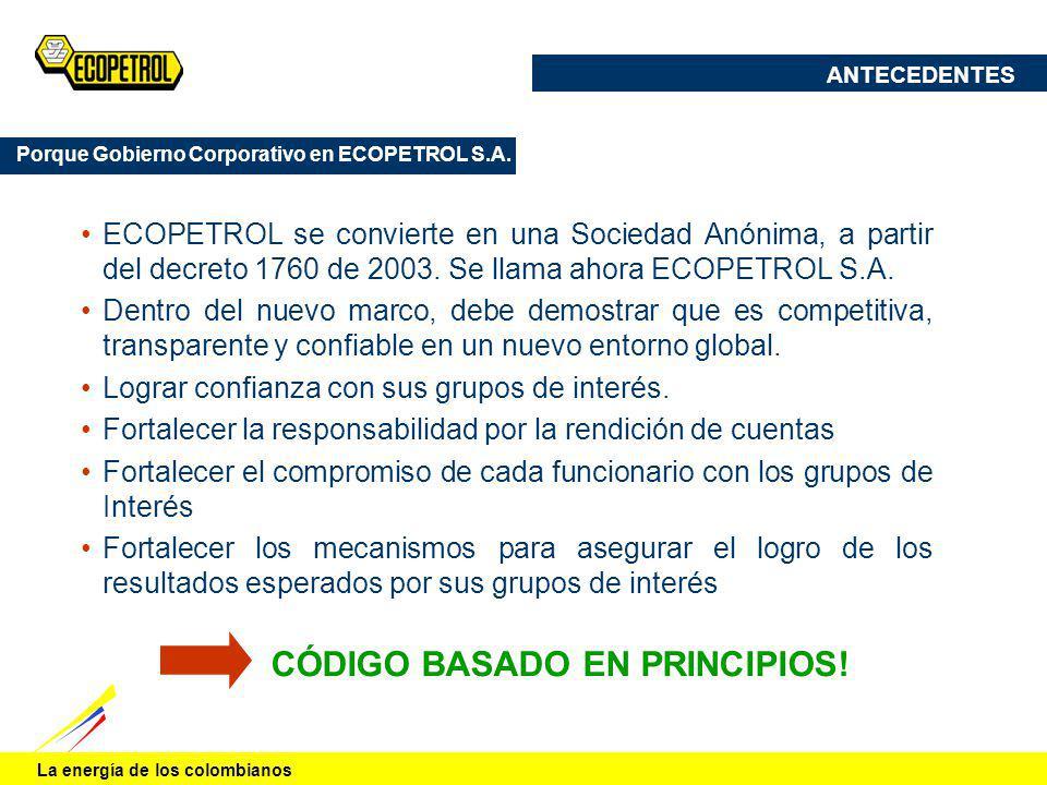 La energía de los colombianos ECOPETROL se convierte en una Sociedad Anónima, a partir del decreto 1760 de 2003. Se llama ahora ECOPETROL S.A. Dentro