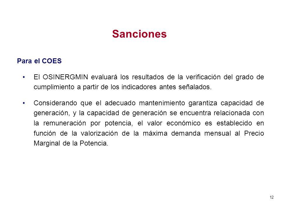 12 Para el COES El OSINERGMIN evaluará los resultados de la verificación del grado de cumplimiento a partir de los indicadores antes señalados. Consid