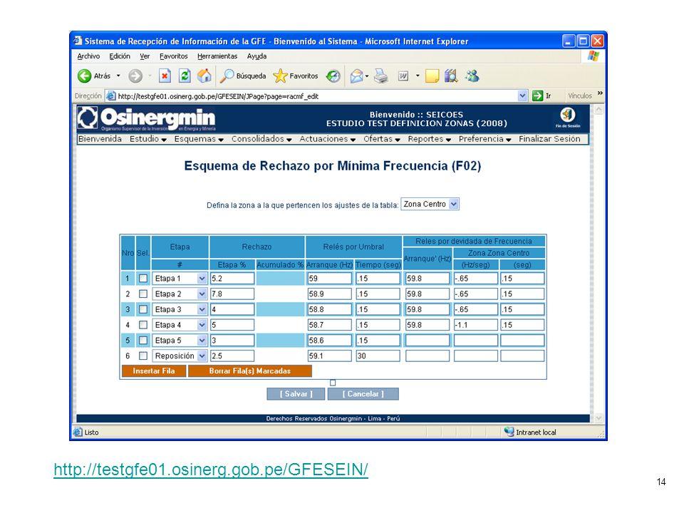 14 http://testgfe01.osinerg.gob.pe/GFESEIN/