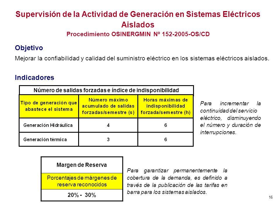 16 Supervisión de la Actividad de Generación en Sistemas Eléctricos Aislados Procedimiento OSINERGMIN Nº 152-2005-OS/CD Objetivo Mejorar la confiabili