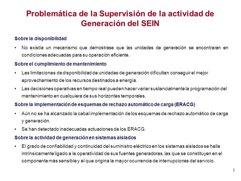 3 Objetivo de la Supervisión en la actividad de Generación Supervisión de la Disponibilidad y el Estado Operativo de las Unidades de Generación del SEIN (1) Procedimiento OSINERGMIN Nº 316-2005-OS/CD Identificar aquellas unidades de generación que presenten problemas de disponibilidad.