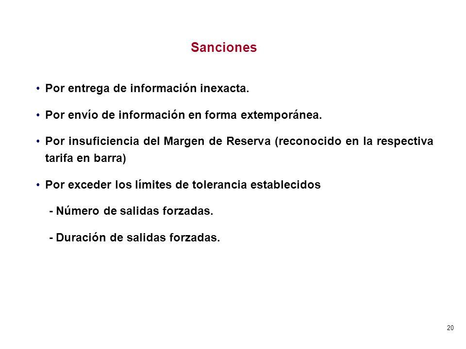 20 Sanciones Por entrega de información inexacta. Por envío de información en forma extemporánea. Por insuficiencia del Margen de Reserva (reconocido