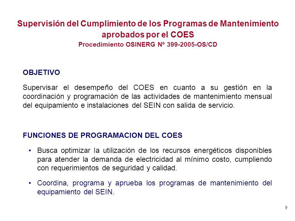 9 OBJETIVO Supervisar el desempeño del COES en cuanto a su gestión en la coordinación y programación de las actividades de mantenimiento mensual del e