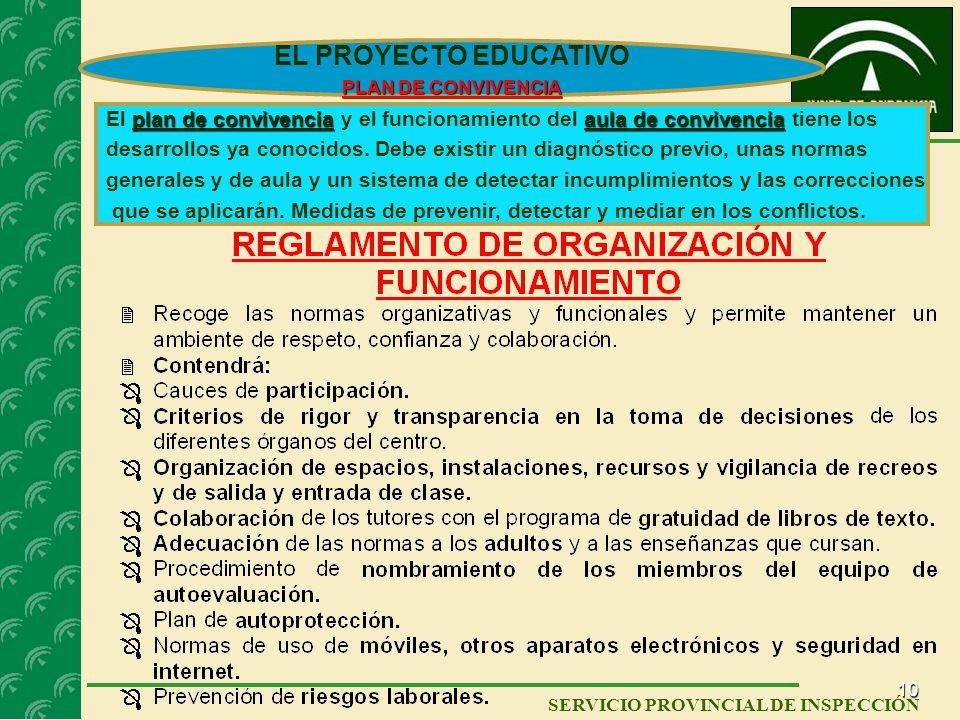 9 SERVICIO PROVINCIAL DE INSPECCIÓN EL PROYECTO EDUCATIVO ELEMENTOS: APORTACIONES DE TODA LA COMUNIDAD EDUCATIVA