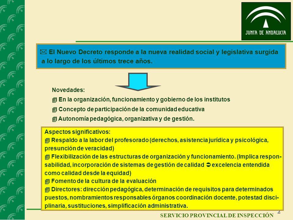 1 SERVICIO DE INSPECCIÓN EDUCATIVA SERVICIO PROVINCIAL DE INSPECCIÓN REGLAMENTO ORGÁNICO DE LOS INSTITUTOS DE EDUCACIÓN SECUNDARIA Y ORDEN POR LA QUE