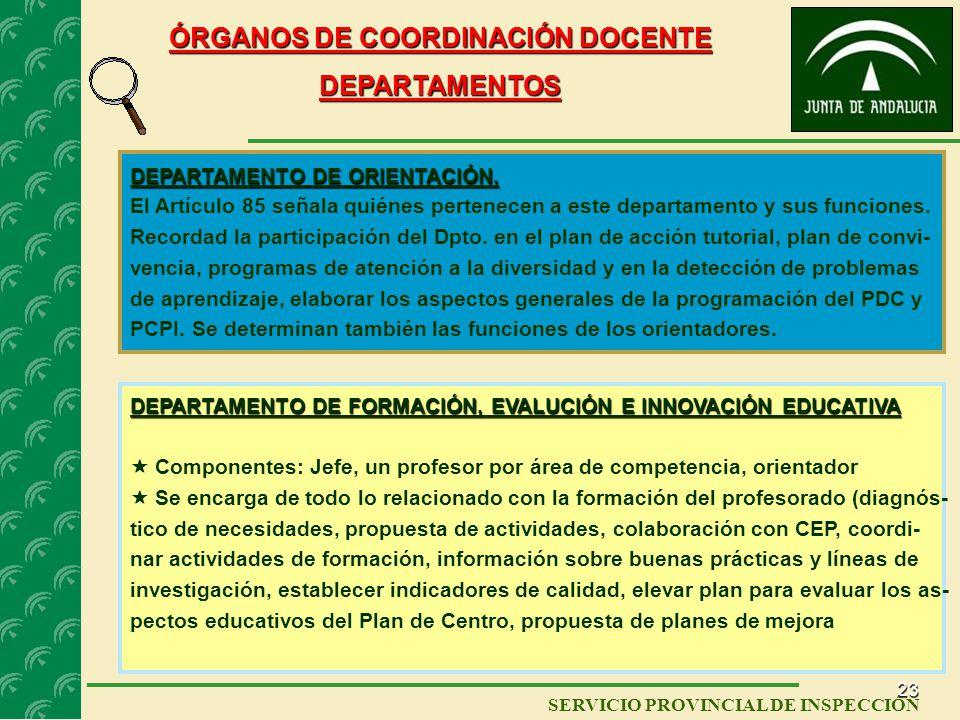 22 SERVICIO PROVINCIAL DE INSPECCIÓN ÓRGANOS DE COORDINACIÓN DOCENTE Áreas de competencia Los departamentos de coordinación didáctica para integrar lo