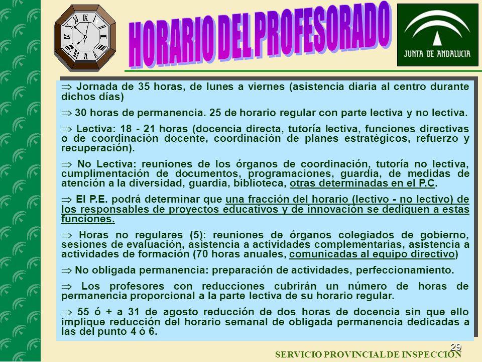 28 SERVICIO PROVINCIAL DE INSPECCIÓN La evaluación externa será hecha por la AGAEVE HORARIOS Todos los horarios del centro los elabora el Jefe de Estu