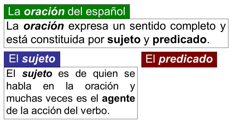 La oración del español La oración expresa un sentido completo y está constituida por sujeto y predicado. El sujeto El sujeto es de quien se habla en l