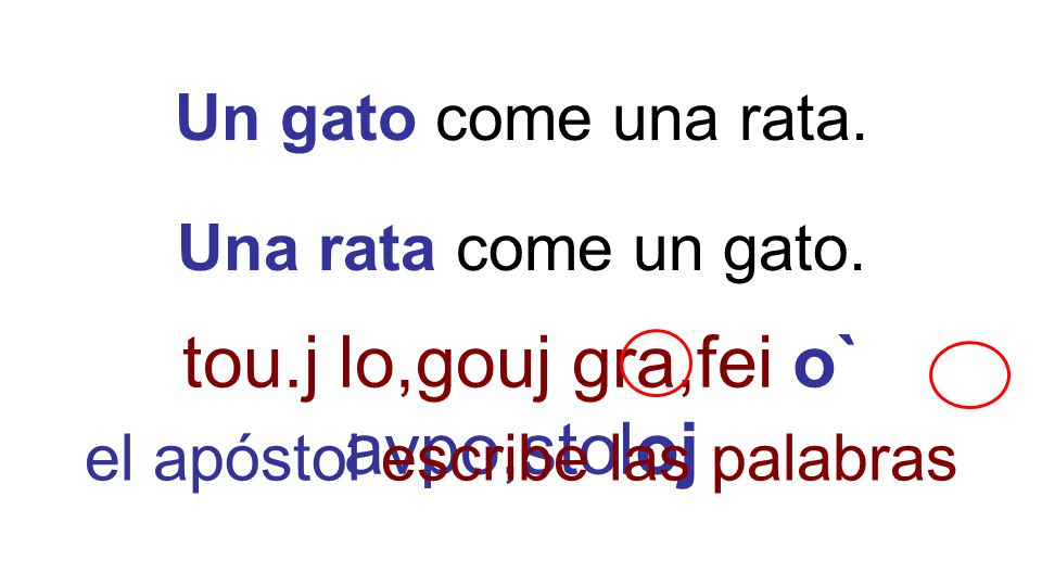 Un gato come una rata. Una rata come un gato. tou.j lo,gouj gra,fei o` avpo,stoloj el apóstol escribe las palabras