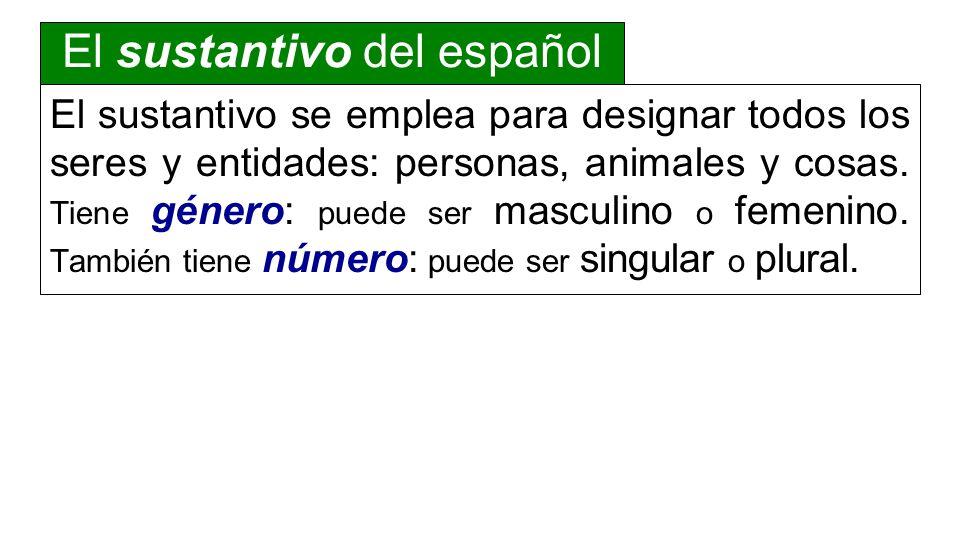 El sustantivo se emplea para designar todos los seres y entidades: personas, animales y cosas. Tiene género: puede ser masculino o femenino. También t