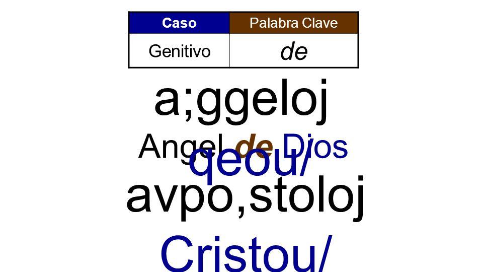 CasoPalabra Clave Genitivo de Angel de Dios avpo,stoloj Cristou/ a;ggeloj qeou/