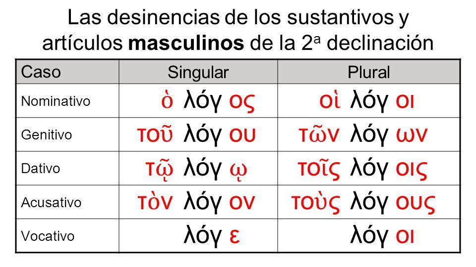 Las desinencias de los sustantivos y artículos masculinos de la 2 a declinación Caso SingularPlural Nominativo λόγ ος ο λόγ οι Genitivo το λόγ ου τ ν