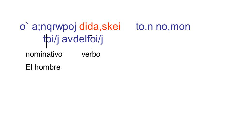 o` a;nqrwpoj dida,skei to.n no,mon toi/j avdelfoi/j El hombre nominativoverbo