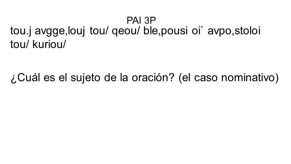 tou.j avgge,louj tou/ qeou/ ble,pousi oi` avpo,stoloi tou/ kuriou/ PAI 3P ¿Cuál es el sujeto de la oración? (el caso nominativo)