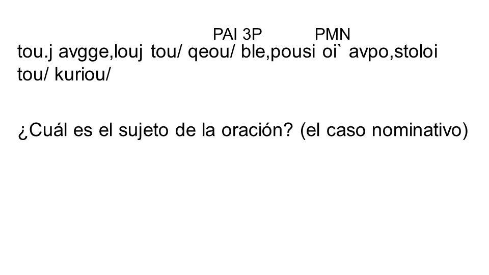 tou.j avgge,louj tou/ qeou/ ble,pousi oi` avpo,stoloi tou/ kuriou/ PAI 3P ¿Cuál es el sujeto de la oración? (el caso nominativo) PMN
