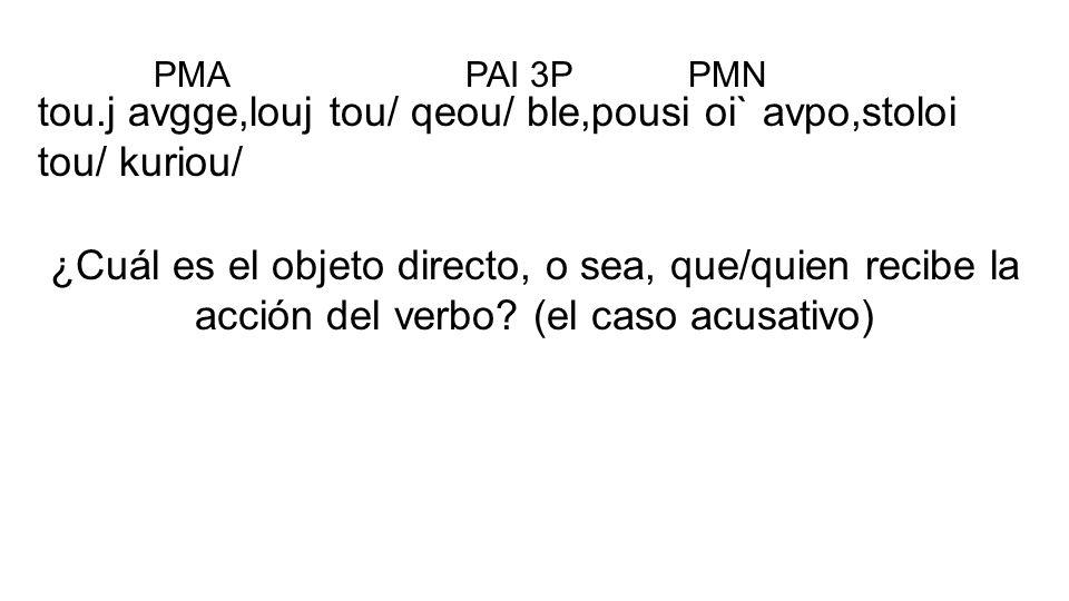 tou.j avgge,louj tou/ qeou/ ble,pousi oi` avpo,stoloi tou/ kuriou/ ¿Cuál es el objeto directo, o sea, que/quien recibe la acción del verbo? (el caso a
