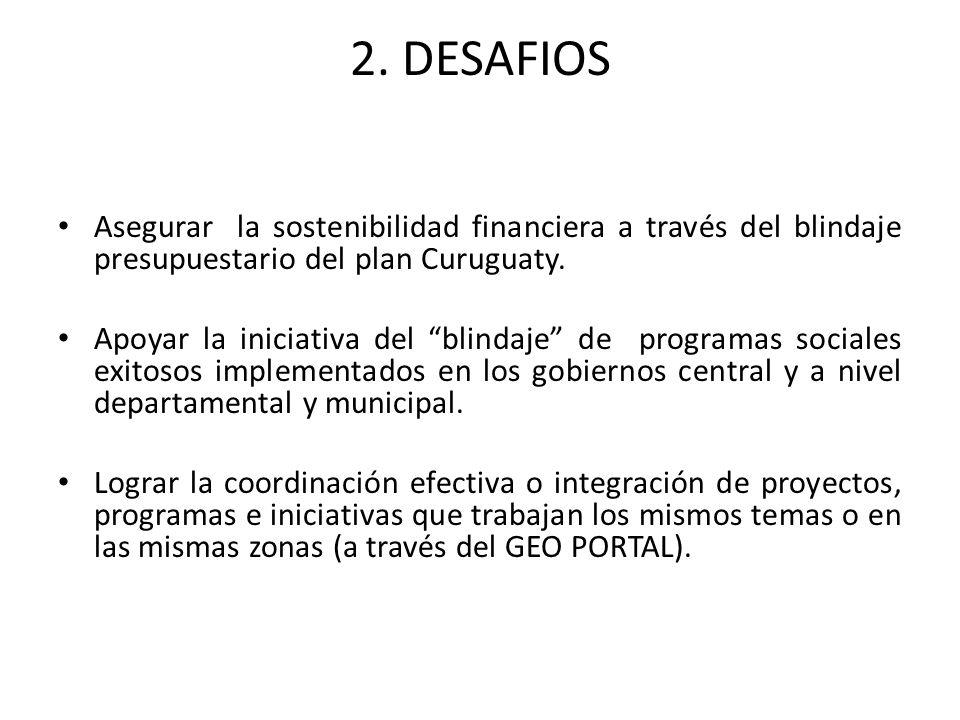 2. DESAFIOS Asegurar la sostenibilidad financiera a través del blindaje presupuestario del plan Curuguaty. Apoyar la iniciativa del blindaje de progra