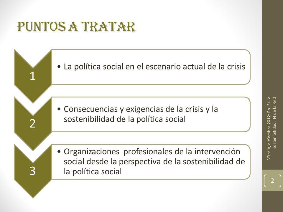 Puntos a tratar 1 La política social en el escenario actual de la crisis 2 Consecuencias y exigencias de la crisis y la sostenibilidad de la política