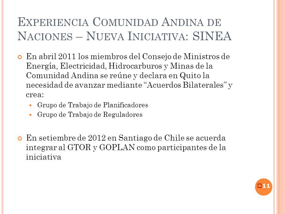 E XPERIENCIA C OMUNIDAD A NDINA DE N ACIONES – N UEVA I NICIATIVA : SINEA En abril 2011 los miembros del Consejo de Ministros de Energía, Electricidad